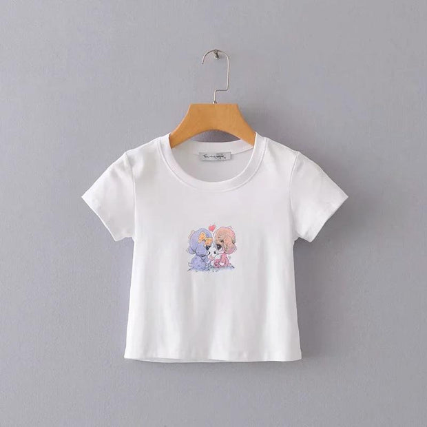 Slim short puppy print crew neck short sleeve Crop Tops