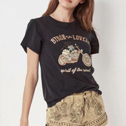 Street style motorcycle coconut palm double-sided printed loose round neck short sleeve T-shirt