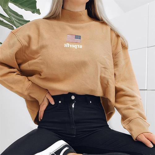 Middle and old collar long sleeve short sweatshirt