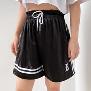 Woman embroidery letter ribbon drawstring casual shorts