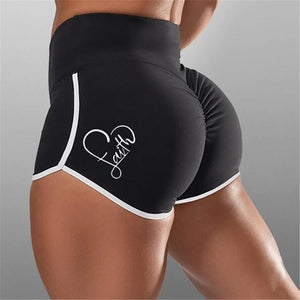 Woman fashion fitness tight stretch sports printed shorts