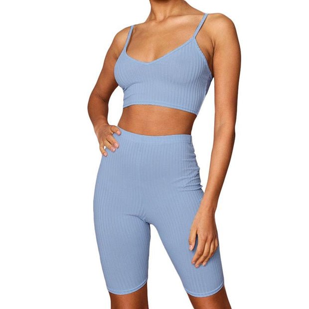 Women's sling exposed navel high waist Sets