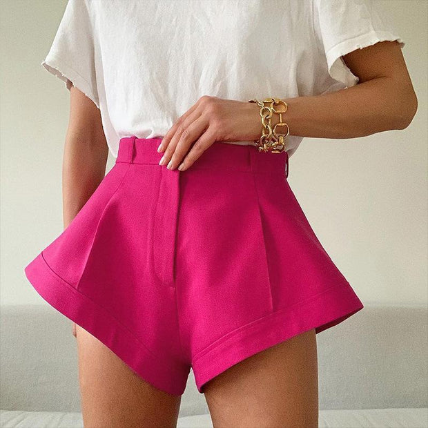 Woman casual solid color zipper high waist wide leg shorts