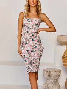 Elegant Floral Print Party Midi Dress