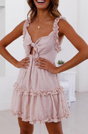 Women Temperament ruffled lace openwork Mini Dress