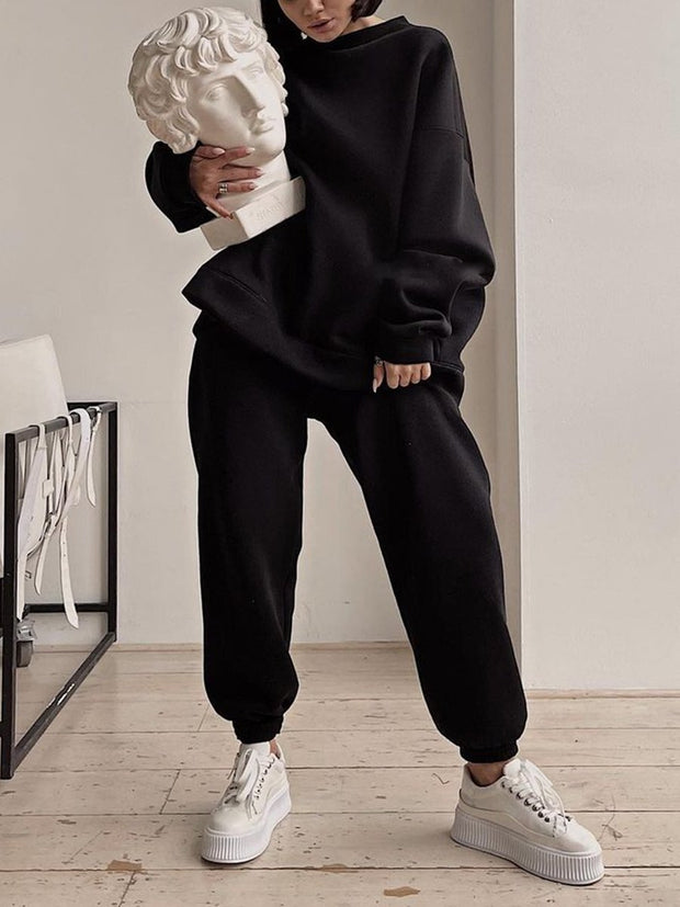 Round Neck Casual Long-Sleeved Sweater Suit