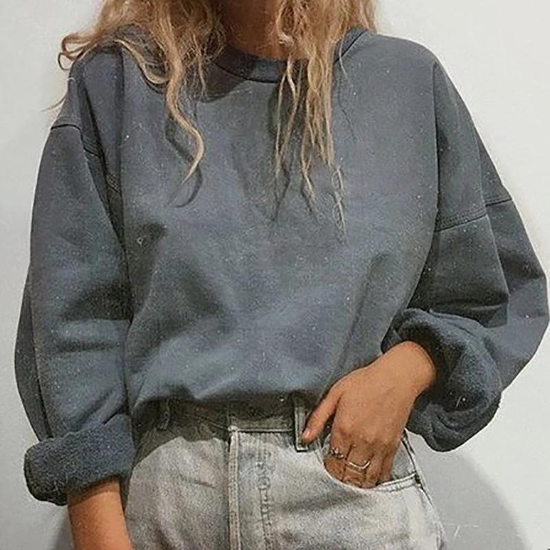 Round neck and velvet pullover sweater
