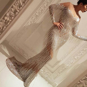 Fashion Sexy Word Collar Tassel Trailing Shiny Evening Dress