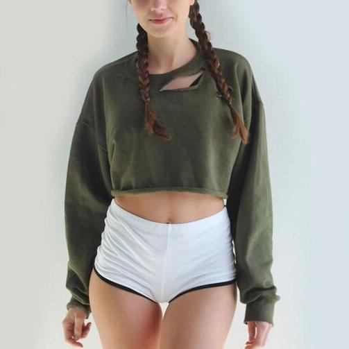 CASUAL BASIC LOOSE ROUND NECK SHORT LONG SLEEVE SWEATSHIRT