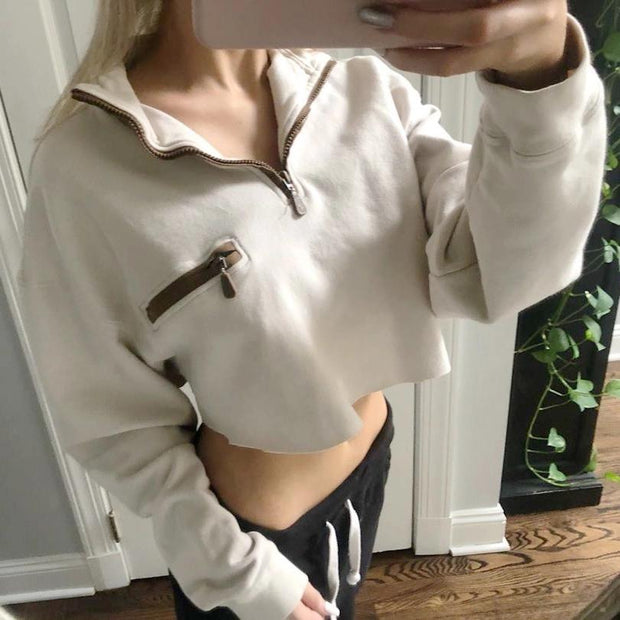 CASUAL BASIC LONG SLEEVE SHORT SWEATSHIRT