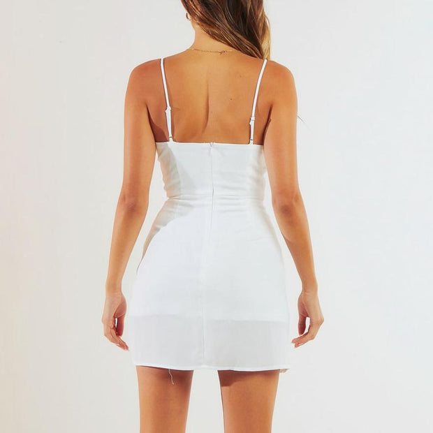 V-neck slim-fit Drawstring Mini Dress