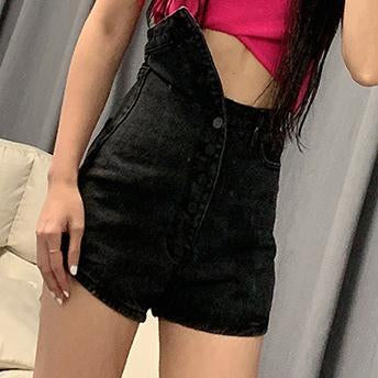High-waisted fashion jeans, straight leg baggy pants and vintage shorts for women
