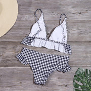 Women Plaid printed ruffle split swimsuit Bikinis