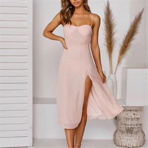 Slit Slim Fit Midi Dress
