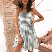 Fashion Casual Plaid Print Short Dress