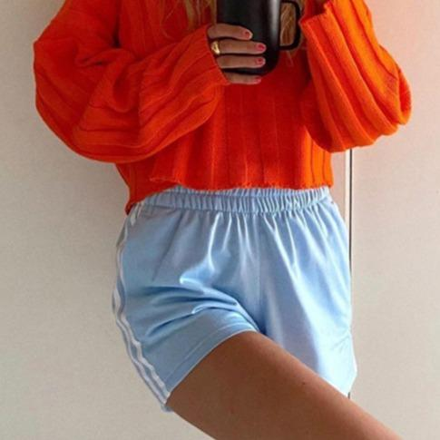 Woman solid color slim waist all-match shorts