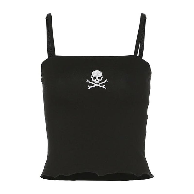 Women's sling skull embroidery crop top