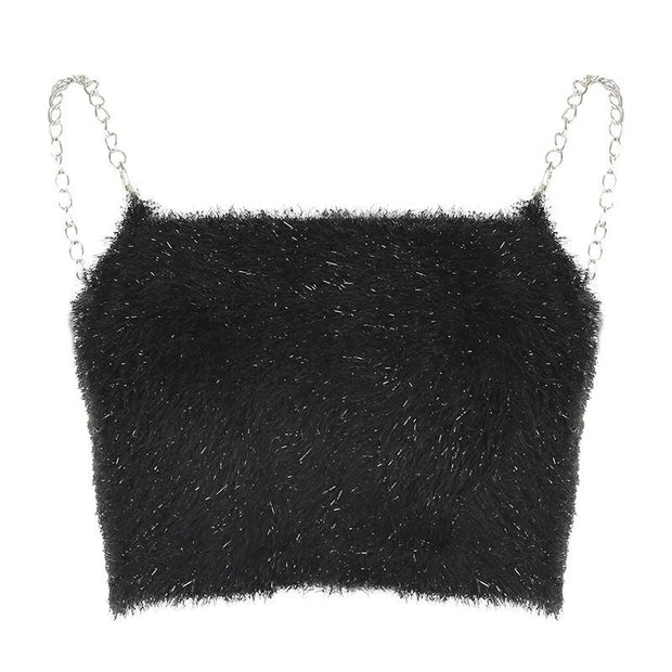 Women's plush vest with sexy crop top
