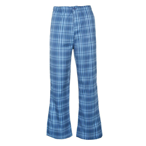 Women high waist slim green checked casual pants