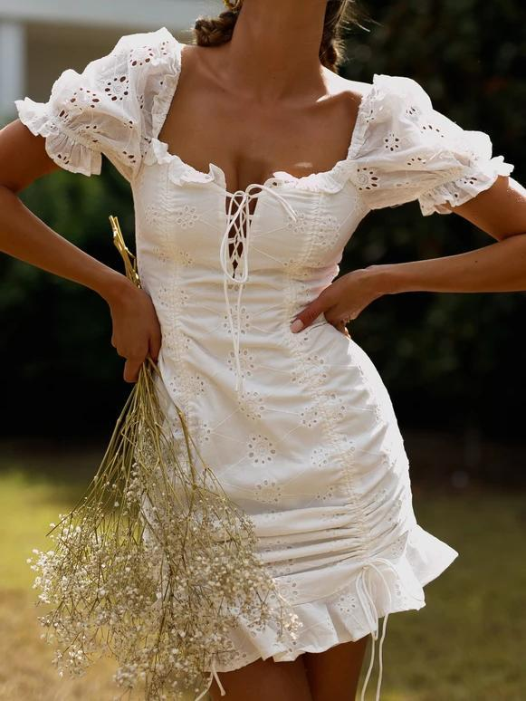 French Short Sleeve Lace Mini Dress