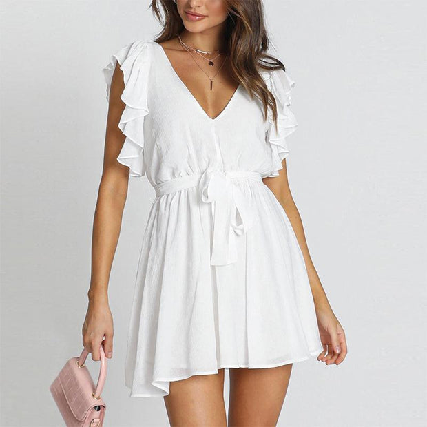 Casual simple solid color chiffon V-neck dress