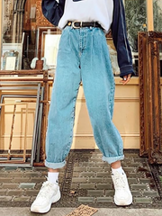 Fashion loose pleated denim straight pants