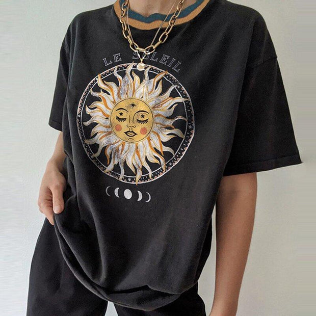 Casual Round Neck Short Sleeve Sun Print T-Shirt