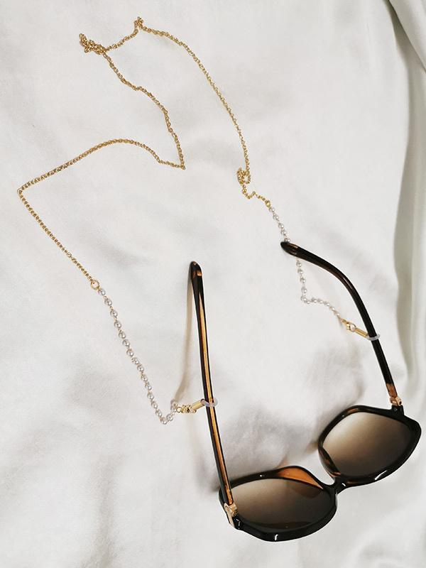 Fashionable sweet pearl dual-use glasses chain necklace
