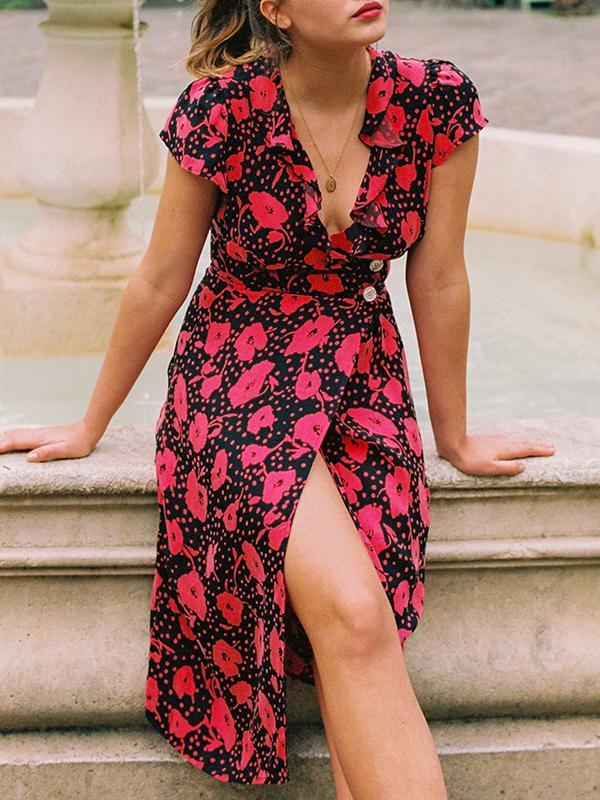 Sexy V-neck Holiday Floral Dress