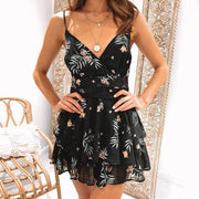 Fashion floral print camisole short dress