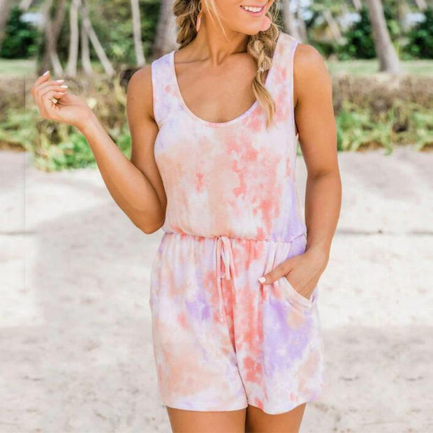 Tie-dye tethered vest top jumpsuit