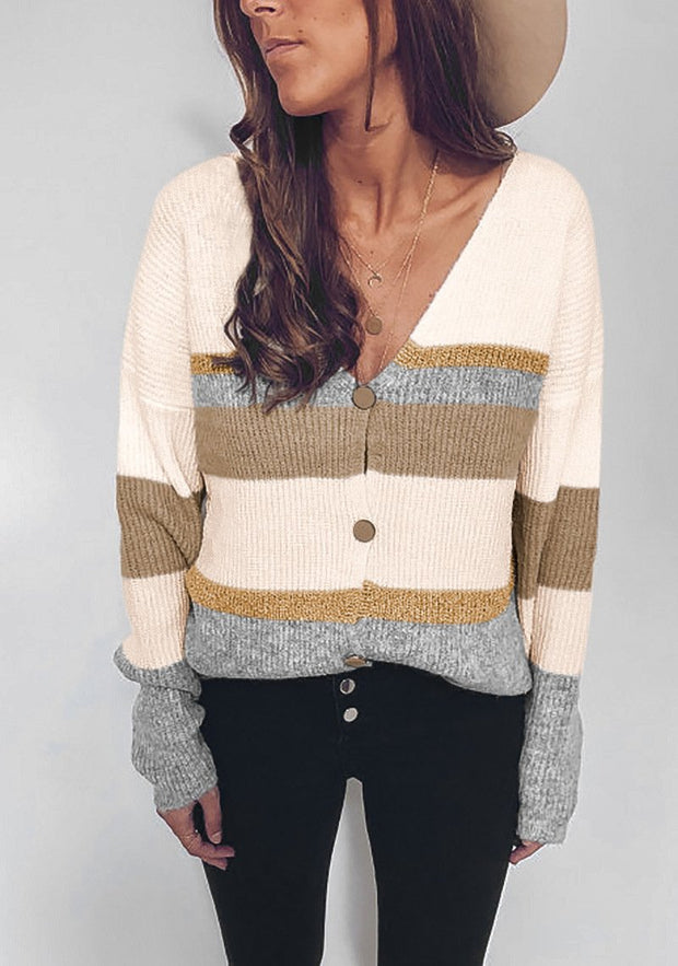 Woman casual multicolor knitted sexy V-neck Sweats