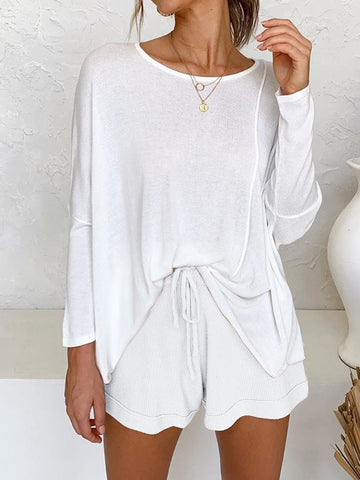 Casual Loose Simple Shirt Shorts Knitted Suit