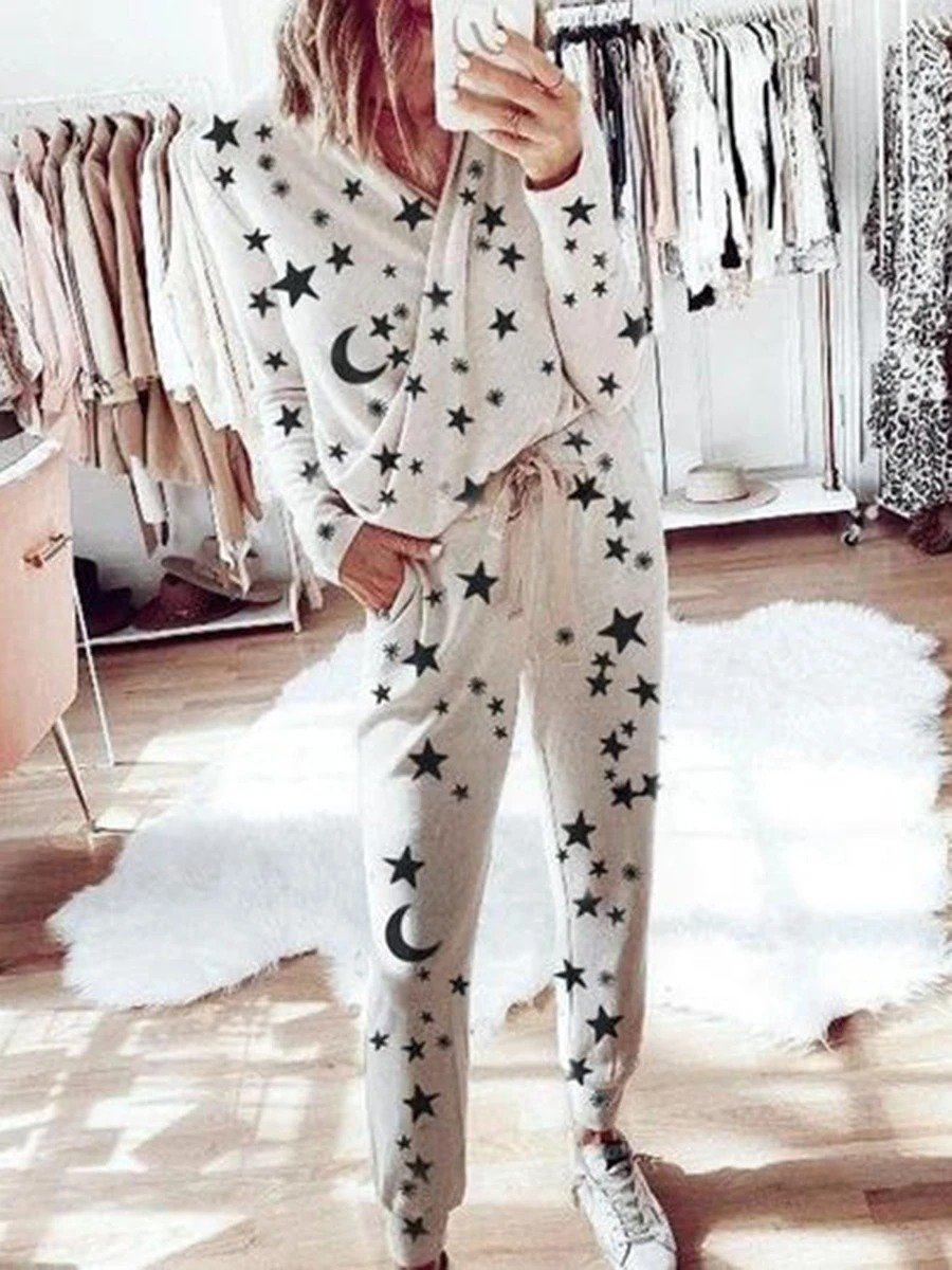 Woman Romantic Starry Loose Top Pants Knitted Sets