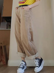 Fashion street solid color loose straight pants