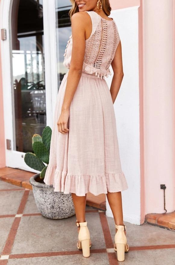 Woman sexy cutout sleeveless strap tassel maxi dress