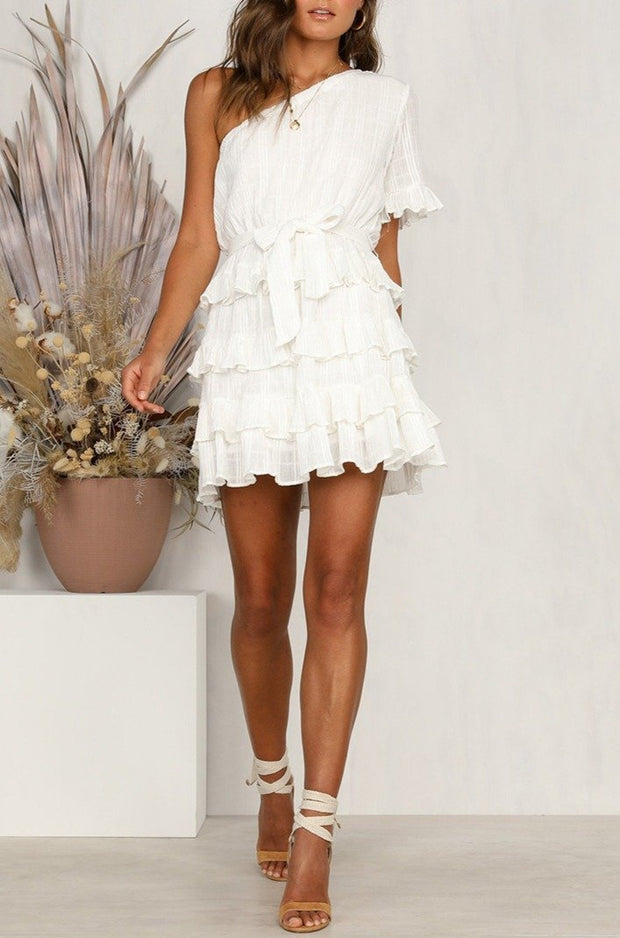Woman casual solid color ruffled shoulder mini dress
