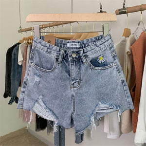 High waist all-match basic casual shorts jeans