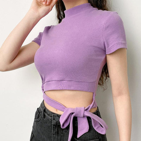 Lace-up Bow Purple Crop Tops