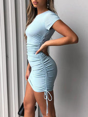 Sexy solid color drawstring short sleeve stretch slim dress