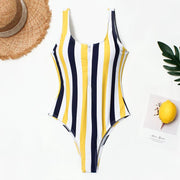 Women Colorblock Stripe Slim Digital Print One Pieces