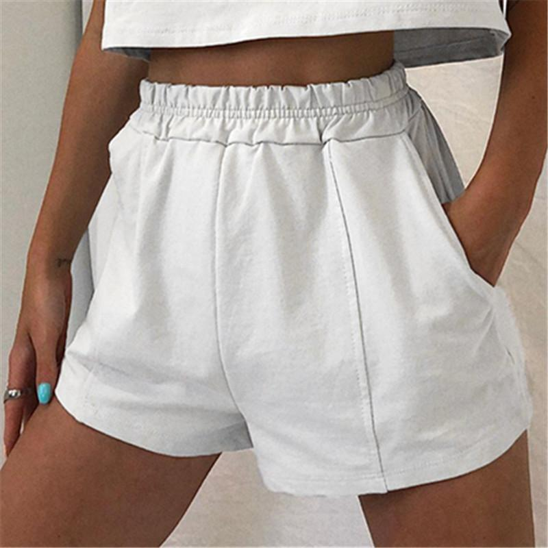 Woman loose short paragraph solid color sports shorts