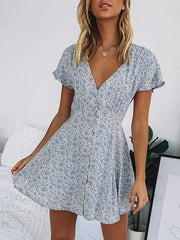 Woman holiday style floral v-neck mini dress