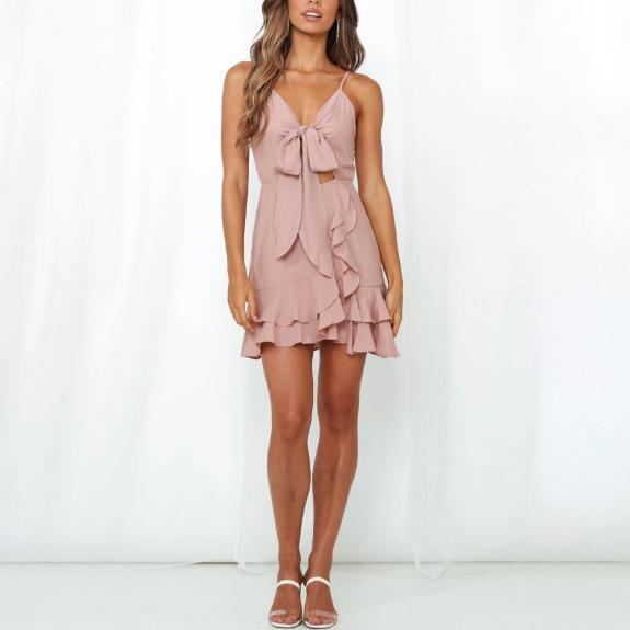Sleeveless sexy slim V-neck bow tie lace dress