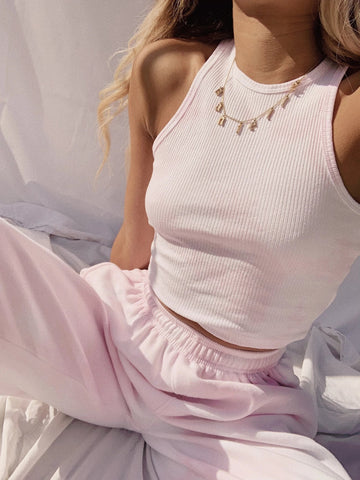 Women Tie dye Dreamy Pink Ribbed Crop Top