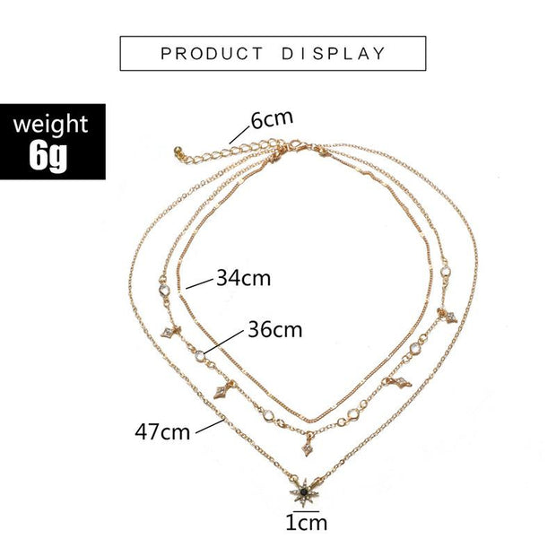 Women Multilayer Star Pendant Necklaces