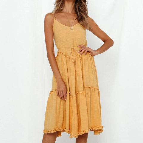Fashion funky stitching casual midi dress