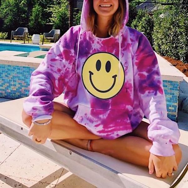 Woman Street Style Loose Tie Dye Smiley Face Hooded Sweatshirts