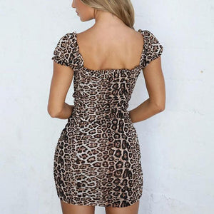 Drawstring ruched skinny sexy low-cut square-neck leopard print dress