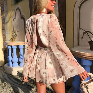 Sweet and cute backless printed mini dress